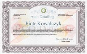 Certyfikat Szkolenia z Auto Detailingu